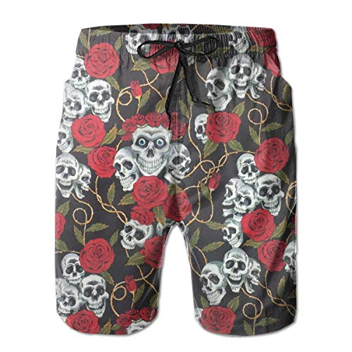 ZKHTO Skulls & Roses Mens Swim Trunks Quick Dry Board Shorts with Pockets Summer Beach Short with Mesh Liner£¬,Shorts Size L - Under Armour Graphic T-shirt Baseball