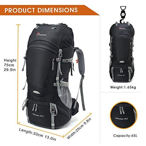 Mountaintop 50/65/80L Zaino Trekking Impermeabile Escursionismo montagna campeggio alpinismo viaggio Nero II/65L