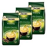 Jacobs Krönung Caffè Crema, 3er Set, Röstkaffee, Kaffee, ganze Bohnen, Kaffeebohnen, 3 x 1000 g