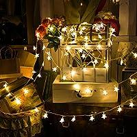 Estrella luces de cadena, 50M 50 LED que funcionen blanco cálido luces de hadas de la batería, constante encendido y el modo de flash Dos luz decorativa para el cumpleaños de Halloween de Navidad