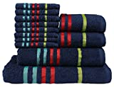 CASA COPENHAGEN Exotic Collezione - Set di 12 Asciugamani da Bagno Mani-Viso in Cotone, qualità 475 g/m², Colore: Blu