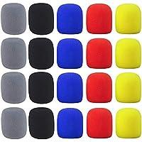 AMACOAM Esponja Microfono Cubierta de Micrófono 20 Piezas Espuma Microfono Lavable Cubierta de Espuma Micrófono del Parabrisas Micrófono Cubierta Pantalla de Espuma de Mano 5 Colores