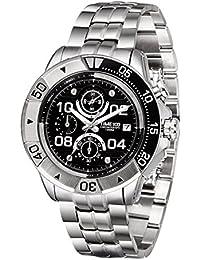 Time100 Men's Fashion Multifunction Stainless Steel Strap Sport Casual Quartz Wrist Watches #W70105G (steel&black)