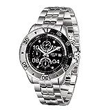 Time100 Multifunktionale Lederarmband Uhr Quarzwerk Armbanduhr Männer Mode Wasserdichte Runde Armbanduhr(Schwarz_2,90.5g)