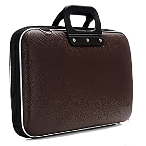 SAE Kruchika GLEAM Synthetic Sleek Faux Leather 15.6 Inch Briefcase with Belt for Laptop, Tab (Dark Brown)