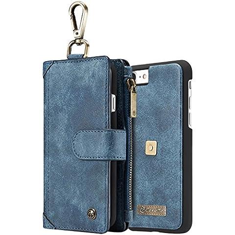 Phone Case Hülle Brieftasche mit Kartenfächer Geldscheinfach mit Reißverschluss Schlüssel Haken Premium mit abnehmbaren Magnet Handy Schutzhülle Geldbörse