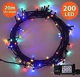 Weihnachts-Lichterketten 200 LED Mehrfarbige Baum-Lichter Innen- und im Freiengebrauch Weihnachtsschnur-Lichter Gedächtnisfunktion, Netzbetriebene feenhafte Lichter 20m/66ft Lit-Länge - Grünes Kabel