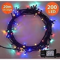 Luces de hadas de Navidad Guirlande 200 LED Multicolor luces de árbol de interior y al aire libre función de memoria, luces de hadas alimentadas de red 20m/66ft cable verde