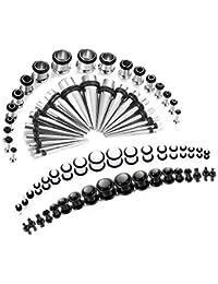 Finrezio 72 Piezas 14G-00G Acero Quirúrgico Piercing Oreja Piercings Dilatadores Set de Joyería