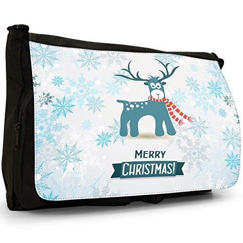 Winter Wonderland fiocchi di neve animali–Borsa Tracolla Tela Nera Grande Scuola/Borsa Per Laptop Reindeer In Red White Scarf