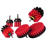 REFURBISHHOUSE 6 Pezzi/Set Power Scrubber Brush Trapano Pennello Pulito per Superfici Del Bagno Vasca Piastrella per Boiacca Kit di Pulizia per Pulizia un Batteria Senza Fili Rosso e Nero