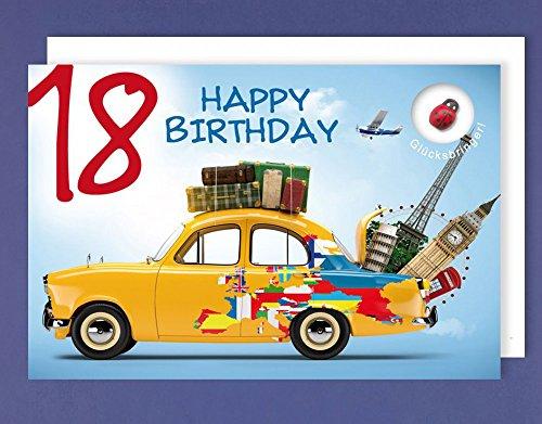 Grußkarte 18 Geburtstag Karte Happy Birthday Applikation Glücksbringer C6