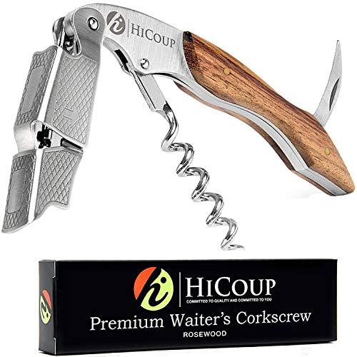 Kellnerkorkenzieher von HiCoup - Multifunktionaler Premium-Korkenzieher mit Palisanderholz, Flaschenöffner und Folienschneider (Rosewood)