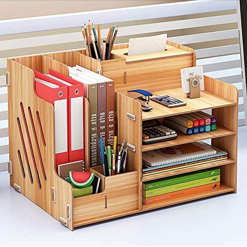 Ecent Organizador de Escritorio de Madera + Caja de Toallas + Soporte para bolígrafos Soporte de Documentos para Suministros de Oficina, hogar, Necesidades diarias