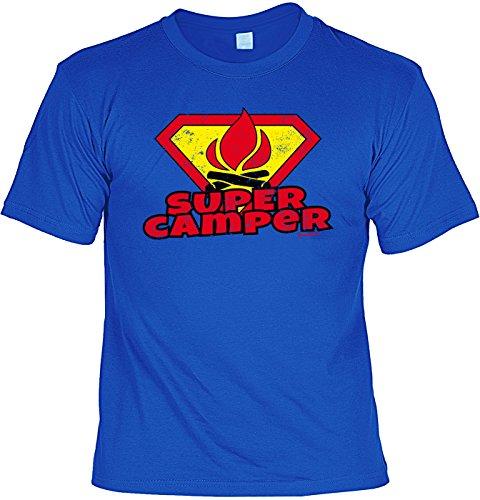 Camper Shirt - SUPER CAMPER - Freizeit-Hemd mit lustigem Spruch Royalblau