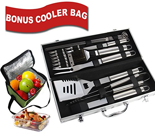 Bonus Cooler Bag - 19pc Stainless Steel BBQ Grill Tool Set for Men with Gift Box Package - Complete Outdoor Barbecue Grilling Accessories Kit in Aluminum Storage Case - by ROMANTICIST