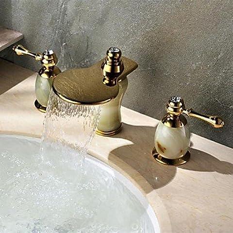 YKQJING Artes y cerámica válvula/vintage gran cascada decorativa es responsable de Ti-PVD. tres orificios de grifo de fregadero de baño