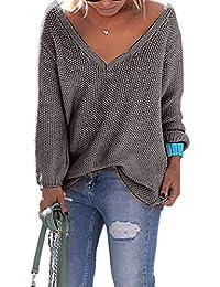 Ninimour Damen Casual Herbst V-Ausschnitt Lose Einfarbig Pullover Sweater