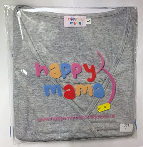 Happy Mama. Femme Top de maternité. T-shirt d'allaitement double couches. 959p Bleu Gris