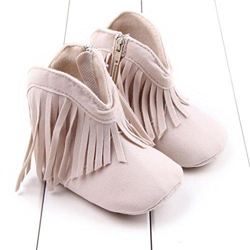 Saingace® Krabbelschuhe boots,Kleinkind -Säuglings Neugeborenes Baby Schuhe weiche Sohle Stiefel Prewalker Quaste Beige