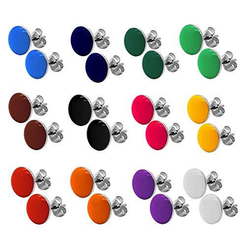 tumundo 2 Ohrstecker Ohrringe Rund Ohr-Schmuck 10 mm Fake-Plugs Piercing Set Silbern Damen Herren Cheater Edelstahl, Farbe:Alle Farben - Ohrringe Rot Ohrstecker Herren
