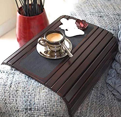 DM Concepts Premium Holz Sofa Arm-Tablett Tisch. Flexibel/faltbar Sofa Tablett. Couch Arm Tisch. Ideal für Getränke, Snacks, Fernbedienung oder Telefon. Tolles Arm Tablett für Couch Armlehne. -