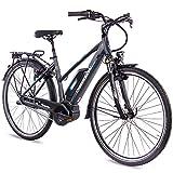 CHRISSON 28 Zoll Damen Trekking- und City-E-Bike - E-Rounder anthrazit matt - Elektro Fahrrad Damen - 7 Gang Shimano Nexus Nabenschaltung - Pedelec mit Bosch Mittelmotor Active Line 250W, 40Nm