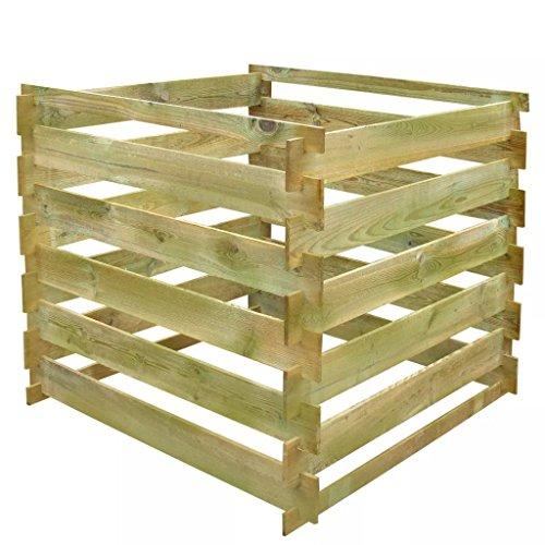 vidaXL Compostiera da giardino a doghe in legno quadrata 0,54 mc