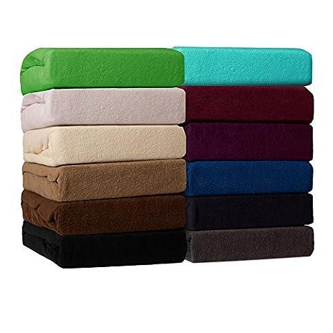 Drap-housse de matelas classique en tissu-éponge - toutes tailles et couleurs - 80% coton - 20% Polyester - 180-200 x 200 cm - blanc