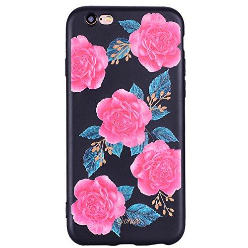 iPhone 6 Handyhülle,iPhone 6S Silikon Schutzhülle,iPhone 6/6S 4.7 Handyhülle,Hpory Flexible Soft TPU Colorful Painted Muster Ultra-thin Schwarz Silicone Gel Handyhülle Handy Gehäuse Hülle für Mädchen Blumen#2