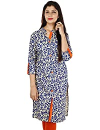 Shree Women's 100% Pure Cotton Blue & Off White Printed Kurti Sherwani Style