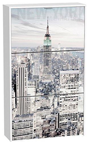 Commode à chaussures de 3 portes laqué blanc motif Skyline Manhattan, 750 x 242 x 1268 mm -PEGANE-