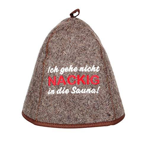 """Saunahut \""""Ich gehe nicht Nackig in die Sauna\"""" Saunakappe Saunamütze Sauna Filz Kappe Lustige Hüte"""