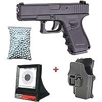 Galaxy Airsoft Pack Type Glock G17 Pistolet à Ressort Métal Noir (0.5 Joule) avec Holster + Cible Filet + Sachet de 600 Billes G15+