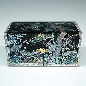 Bo te bijoux coffre cube ouverture originale bois nacre nature nocturne asie bijoux - Boite a bijoux originale ...