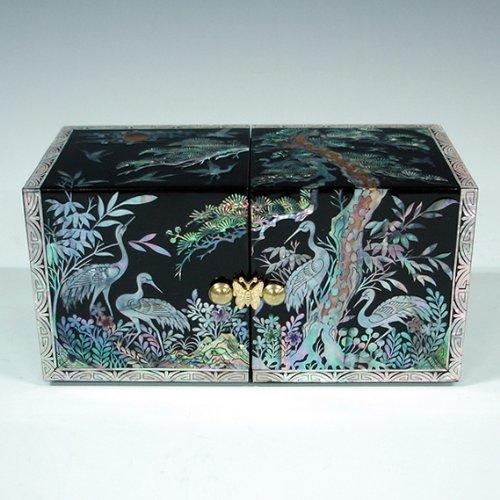 Sapin noir Nacre Grue LAQUE ASIATIQUE-main en bois Inscription Secret Coffret à Bijoux Coffre Trésor Boîte de rangement