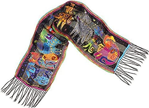 Laurel Burch LBS-103 Authentic Silk Art Scarf, Dogs and Doggies by Laurel Burch
