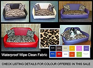 Zippy Faux Leather Sofa Pet Dog Bed - Extra Large - Brown & Leopard