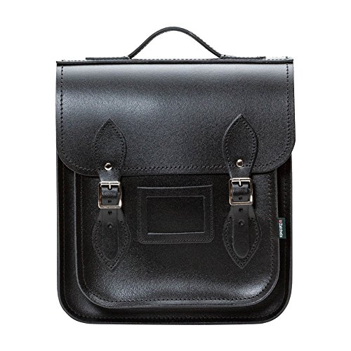 Zatchels - City - Zaino in pelle fatto a mano (British Made) (25 cm) (Nero)