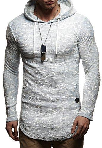 LEIF NELSON Herren Pullover Sweatjacke Kapuzenpullover Hoodie Oversize Sweatshirt mit Kapuze Longsleeve Biker Sweater Langarm LN8126; Größe S, Blau  