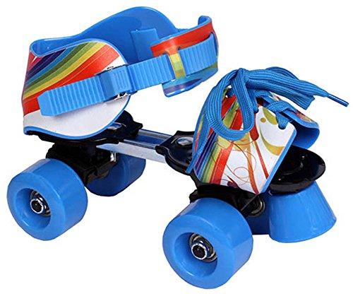 Quad Kinder Rollschuhe blau rot Gr. 28-37 größenverstellbar (blau)
