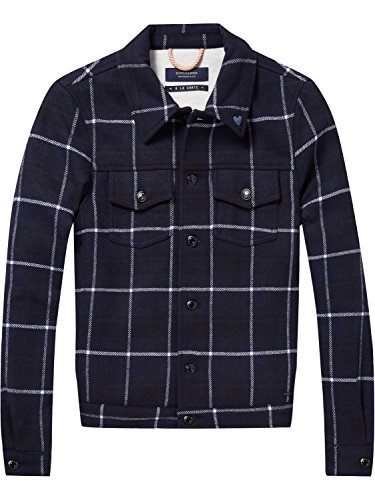 Scotch & Soda Maison Damen Jacke Trucker in Bonded Wool Quality, Mehrfarbig (Combo A 17), Small