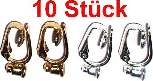 Ohrring/Ohrstecker Umwandler zum Ohr-Clip silber- und gold-farben (Mengenrabatt - je mehr desto preisgünstiger) (10)