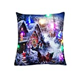 sunnymi LED Kissenbezug Weihnachten Weihnachtsbaum Stil Neue Pillowcase 45 * 45cm Farbe Lichter Weihnachtskissen Lichter Kissen Kreatives Drucken Leinen (E, Weihnachtsbaum Stil)
