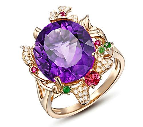 Adisaer 2.1Ct Mujeres Aniversario De Boda Naturel Améthyste Diamant Tourmaline Anneaux Oro Tamaño: 22