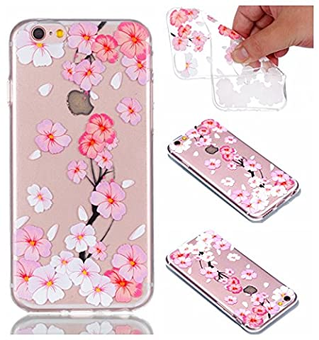 iphone 6 6S Hülle Case, Cozy Hut® [Relief Series] Ultra Dünn [Crystal Case] Transparent Soft-Flex Handyhülle / Bumper-Style Premium-TPU Silikon / Perfekte Passform / Kratzfest Schutzhülle für iphone 6 6S Case, iphone 6 6S Cover, iphone 6 iphone 6S Case, iphone 6 iphone 6S Cover - Rosa und weißer