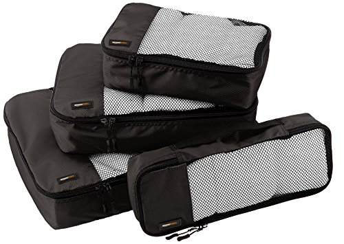 AmazonBasics Packing Cubes - Small, Medium, Large, and Slim, Black (4-Piece Set)
