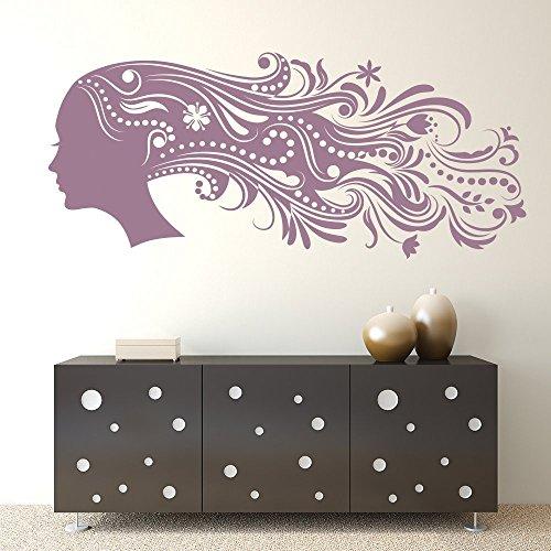 Azutura capelli floreali adesivo da parete parrucchiere adesivo parrucchieri home decor disponibile in 5 dimensioni e 25 colori grande bianco