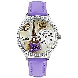 Fashion Luxury Rhinestone Leather Strap Quartz Women Girl Wrist Watch,Purple