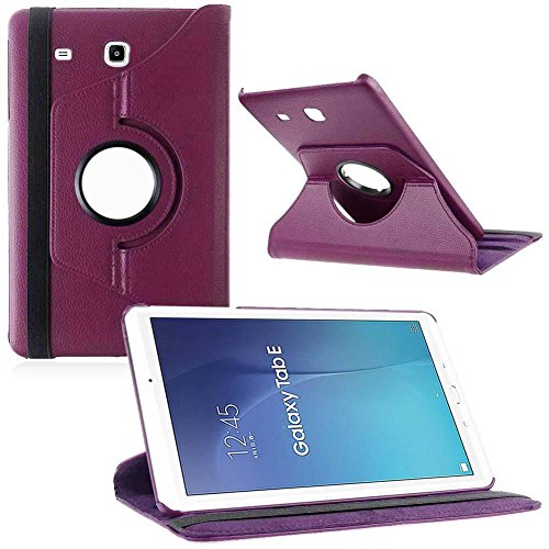 Kamal Star® Samsung Galaxy Tab E 9.6 T560 T561 Smart Book Cover Case – Ultra Slim Light Weight Stand Supports 360 Viewing Angles with Auto Sleep/Wake Feature + Free Stylus ( Purple Flip)